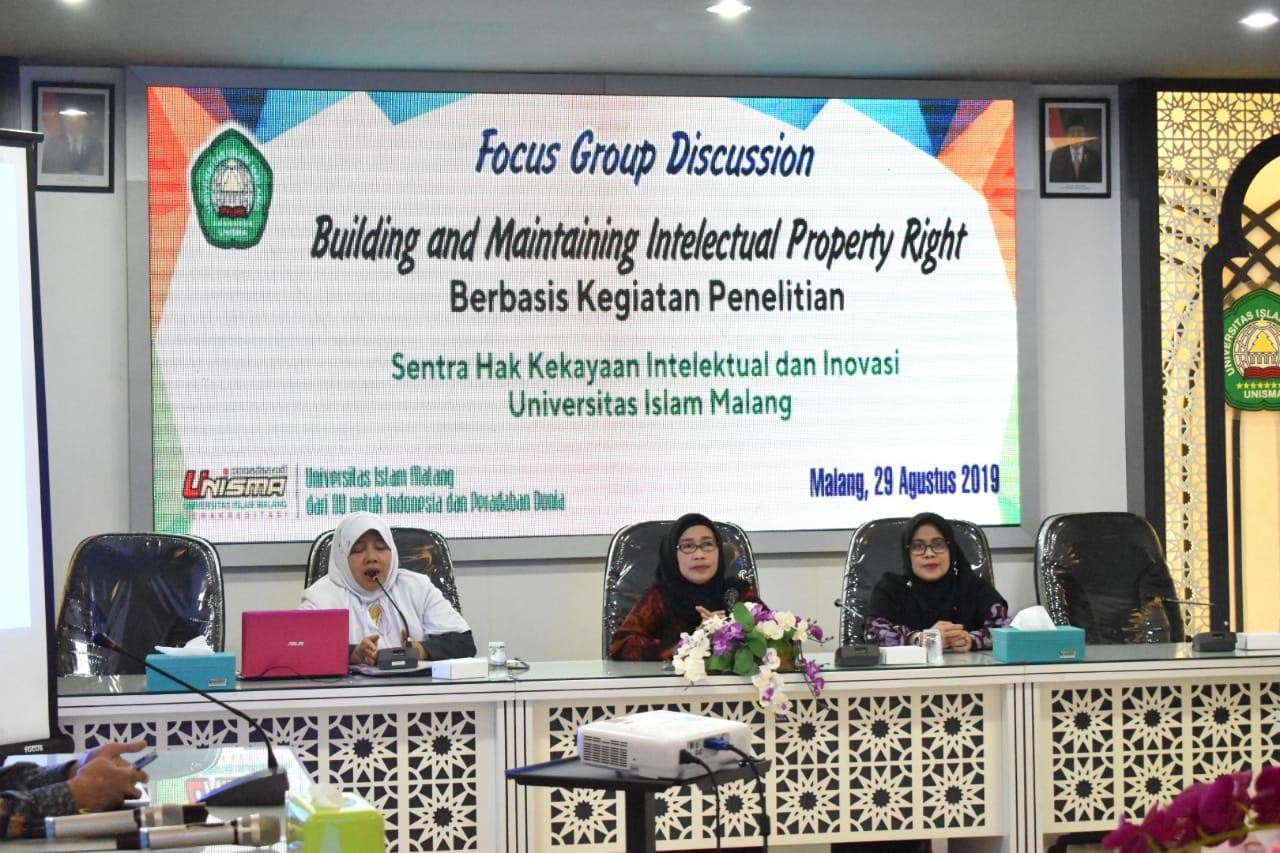 Unisma Malang Mengadakan Acara FGD Building and Maintaining Intelectual Property Right