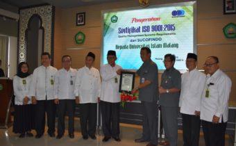 UNISMA RAIH SERTIFIKAT ISO 9001 2015