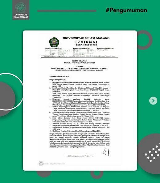Surat Edaran mengenai protokol penyelenggaraan pendidikan adaptif semester gasal 2020/2021 Universitas Islam Malang
